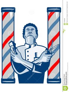 Illustration of an african american barber with arms crossed holding a ... Black Barber Art