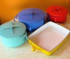 Dansk pots & oblong pan.    Blue cobbler needed for the yellow pan.