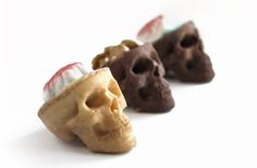These chocolate skulls contain candy and walnut brains, making them the perfect snack for zombie lovers.