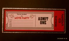 Movie Theatre Birthday Party invite I created for a friends son. Movie Theatre Birthday Party, Rio Birthday Parties, Birthday Party Treats, Movie Party, Birthday Bash, Birthday Party Invitations, Girl Birthday, Birthday Ideas, Happy Birthday