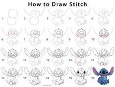 Easy Drawing How to Draw Stitch (Step by Step Pictures) Lilo Y Stitch Dibujo, Lilo Et Stitch, Disney Drawing Tutorial, Easy Drawing Tutorial, Lilo And Stitch Drawings, Stitch Cartoon, Easy Disney Drawings, Cute Easy Drawings, Drawing Disney