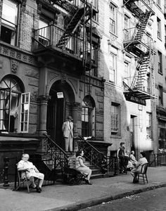 William Shrout New York City 1945 A typical front stoop.