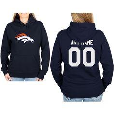 Denver Broncos Womens Custom Any Name & Number Hooded Sweatshirt