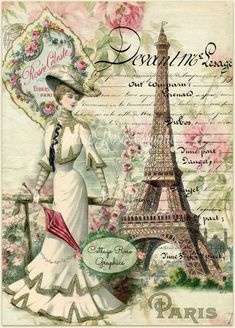 Paris within the Summer season digital picture obtain by CottageRoseGraphics