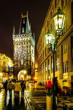 Night Lights in Prague , Czech Republic