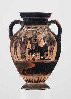 Ceramic black-figure two-handled jar (amphora) depicting the birth of Athena. Group E. Greek. Archaic Period, c. 540 B.C. | The Museum of Fine Arts, Boston