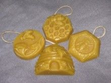"$2.50 ea - Pure beeswax tree ornaments. These are smaller than the round ""bee tree"" ornament, and made more or holiday tree decorating."