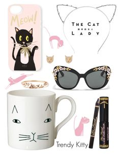 """Trendy Kitty"" by cutandpaste ❤ liked on Polyvore featuring Donna Wilson, Rifle Paper Co, Karen Walker, DOMESTIC, Dolce&Gabbana, Sessions, women's clothing, women, female and woman"
