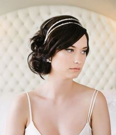 Bridal Hair Accessory with complimentary style: Chignon with side swept bangs + Crystal Headband