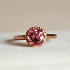 Custom Made 1.62 Carat Tourmaline Ring In 14k Rose Gold