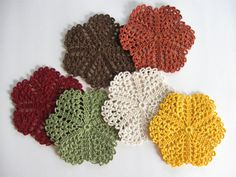 Fall Decor  Crocheted Coasters  Doilies Glass Mats  by dlf724, $22.00