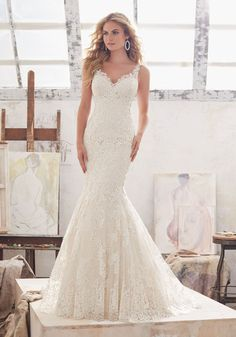 View Dress - Mori Lee Bridal SPRING 2017 Collection: 8115 - Marcelline - Frosted Alençon Lace Appliqués on Net with Wide Scalloped Hemline | MoriLee Bridal