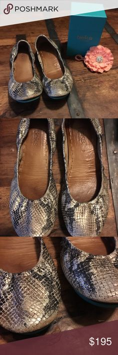 Gorgeous Copperhead Snake Tieks Women's 8 Amazingly comfortable flats. Tieks Women's size 8.  100% premium, soft, full grain leather.  Non-elasticized, cushioned back. Non-skid rubber soles and cushioned instep.  Color is Copperhead Snake-combination of copper, Silver, and black.  Good condition.  Well loved, but lots of life left! A little wear near the toes, pictured. If you have not tried Tieks, you need to!  I have 4 pairs and I plan to buy more.☺️ They are so comfortable and stylish…