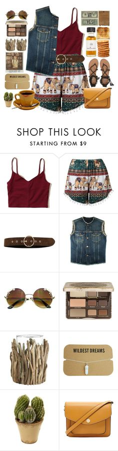 """""""Beach Shorts"""" by doga1 ❤ liked on Polyvore featuring Hollister Co., River Island, Yves Saint Laurent, Too Faced Cosmetics, Pier 1 Imports, Nearly Natural, Forever 21 and Billabong"""