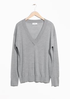& Other Stories image 1 of Silk & Wool Blend Oversized Knit in Grey