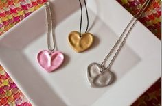 DIY Heart Thumbprint Charm Necklaces - Homemade Gifts for Mother's Day