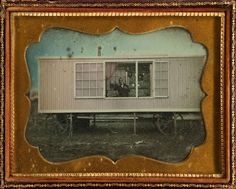 "ca. 1855, [daguerreotype of the wagon studio of traveling photographer William Harding with the subject seated inside], James A. Boyd   Inscribed in pencil, ""Taken By James A. Boyd at White Pigeon June the 6 1855, James A. Boyd Artist, Artist Wm Hardings Car, Price $6.00"".  via Heritage Auctions"