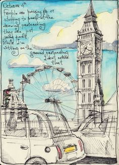 Moleskine - myMoleskine - London wheel, tower and cabs. Beautiful sketchbook page.