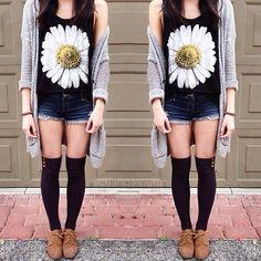 daisy top, long cardigan, brown oxfords, thigh socks