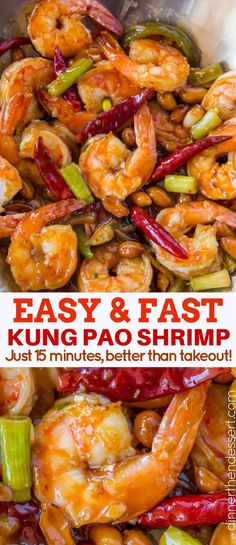 Kung Pao Shrimp is a Chinese food restaurant classic spicy garlic stir fry that's healthy, easy and ready in less than 15 minutes! food shrimp Kung Pao Shrimp - Dinner, then Dessert Healthy Chinese Recipes, Vegetarian Recipes, Cooking Recipes, Healthy Recipes, Chinese Shrimp Recipes, Cooking Food, Easy Cooking, Healthy Food, Fish Recipes