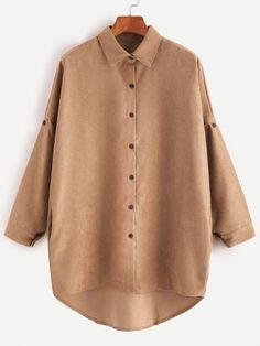Khaki Drop Shoulder High Low Shirt