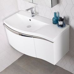 Roper Rhodes Serif 900mm Wall Mounted Vanity Unit With Isocast Resin Basin - Left Hand - White