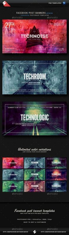 Techno, tech-house party facebook post banners Facebook post banner templates for electronic music parties, sessions, DJ nights. Suited for different styles of electronic music parties like techno…More