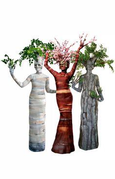 Birch Tree, Blossom Tree, & Oak Tree - Living Statues by TEN31