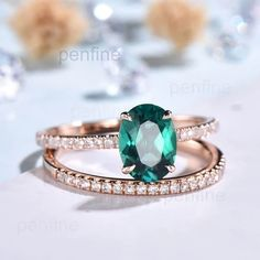 Emerald Ring 4*6 mm Lab Emerald Engagement Ring Bridal Wedding Ring Valentines Gift February Birthstone Party Unique Rings