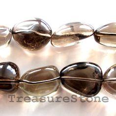 Bead, smoky quartz, 21mm nugget. TreasureStone Beads Edmonton