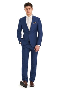 Moss London is about attitude, individuality and quirky youthful urban style. This bright blue suit is single breasted with a notch lapel. It has two outer pockets and an outer breast welt. It has a single button fastening. The trousers are half lined to the knee. This is one of our set suits where the accompanying trousers are already selected at 6 inches smaller then the chest size. For example, a 40R Suit comes with a 34R trouser. If you require more flexibility in sizes you can look at…