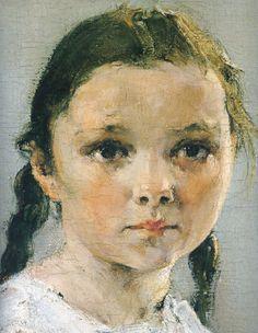 """detail from """"Portrait of Varya Adoratskaya"""" (1914) by Nikolai Fechin"""