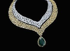 Diamonds, yellow diamonds, coloured stone in 18K gold necklace mahesh notandas