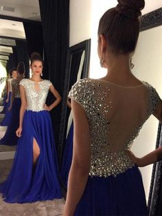 A-line Scoop Neck Royal Blue Chiffon Tulle Sweep Train Split Front Classy Prom Dress