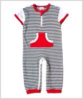 Charcoal/White stripe zip romper  Spring/Summer 14 Li'l Zippers