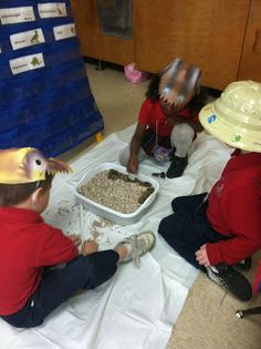 Ms. Solano's Kindergarten Class: Dinosaurs {Their FAVORITE Unit}--digging for fossils in pea gravel