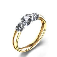 3 Stone Half Bezel Diamond Ring