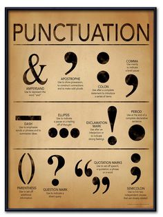Punctuation Grammar and Writing Poster For Home, Office or Classroom. Fine Art Paper, Laminated, or Framed Punctuation Grammar and Writing Poster For Home, Office or Classroom.Art Print: Punctuation - Gramm ar and Writing Poster by Jeanne Stevenson : Grammar Posters, Writing Posters, Book Writing Tips, English Writing Skills, Writing Words, Punctuation Posters, Writing Help, Punctuation Activities, Grammar And Punctuation
