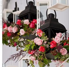 """The Reception Decor  """"My dad told my sister and me long ago that he wanted us to have our weddings at his house,"""" says Brooke. To decorate the tents on the property, lanterns filled with flowers and candles hung from the ceiling."""