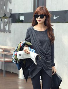 Drape-Front Wrap Top on Jessica Jung