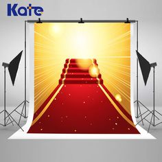 Red Carpet Stairs Golden Five Stars Photography Backdrops