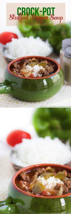 Crock-Pot Stuffed Pepper Soup #paleo #glutenfree #crockpot