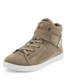 Soft suede lace-up high top sneaker is the perfect casual neutral for any chic wardrobe. DKNY Betty Suede Sneaker