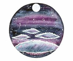 hand painted , original watercolor painting inspired by cloudy nights with full moon.I used a purple , pink ,and gray mix.