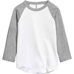 Top de baseball (100 MXN) ❤ liked on Polyvore featuring tops, raglan jersey, baseball jerseys, jersey top, baseball jersey top and white tops