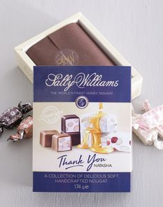 gifts: Personalised Sally Williams Nougat Thank You Box! If their go-to treat is chocolate covered nougat then this is the ultimate gift for them. This Thank You gift is available for personalisation. Place your order for Thank You gift delivery, today! Pink Happy Birthday, Happy Birthday Candles, Happy Birthday Balloons, Chocolate Gifts, Chocolate Box, Chocolate Covered, Same Day Delivery Service, Gift Delivery, 21 Balloons