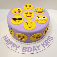 Purple emoji cake for Kris! Happy birthday! Thanks @aprild2c ! #emojicake #edibleart #cakear - allcakedupdc