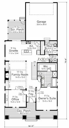 Craftsman Style House Plan - 2 Beds 1.5 Baths 1665 Sq/Ft Plan #51-346 Main Floor Plan - Houseplans.com