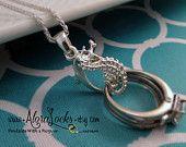 AloraLocks Seahorse Wedding Ring & Charm Holder Pendant - Sterling Silver