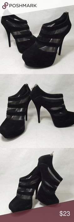 Black Velvet & Mesh Stiletto Platform Shoes 8.5